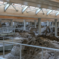 Akrotiri archaeological site is covered by a giant roof.