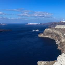Santorini is a huge volcano caldera.