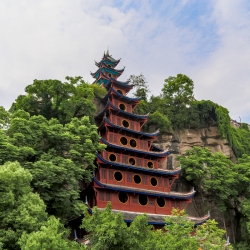 The Shibaozhai pagoda is a 9 story wooden structure built in the early 19th century.