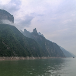 The distinct waterline anchors the craggy peaks and towering cliffs all through the 3 Gorges area of the Yangtze.