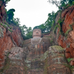 Leshan Buddha. 233 feet tall. Started in 713 ce. Completed in 803 ce.
