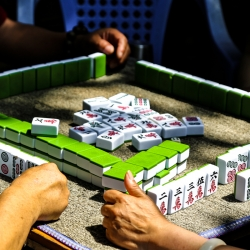 Majong in the park. Illegal gambling-Chinese style.