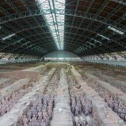 Emperor Qin's Terracotta Army. 210 BC, 8,000+ soldiers, horses, chariots, cavalry in 3 huge covered pits.