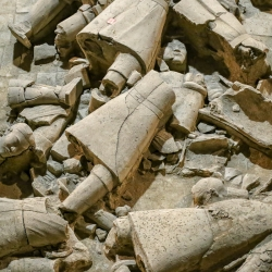 Many were toppled and broken. Was the tomb looted? Some scholars think so.